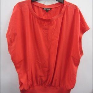 Express Red Elastic Waist Slvless Shirt Sz L EUC